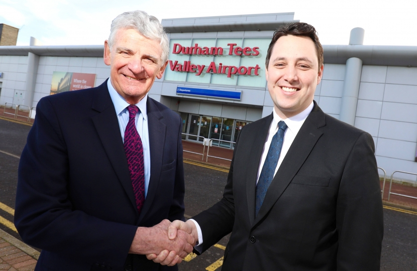 Peel Airports Chairman Robert Hough, left, with Tees Valley Mayor Ben Houchen at Durham Tees Valley Airport