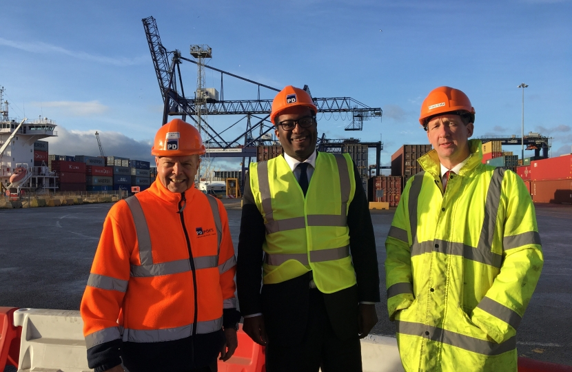 Minister Kwasi Kwarteng MP on his visit to Teesport. From left, PD Ports' Chief Operating Officer and Tees Valley LEP member Jerry Hopkinson, Brexit Minister Kwasi Kwarteng MP and PD Ports' Chief Executive Frans Calje