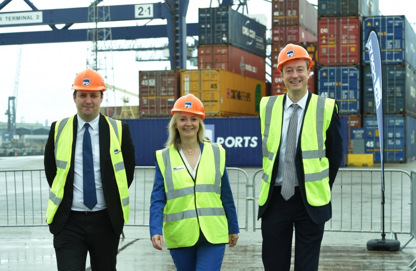 Tees Valley Mayor Ben Houchen with Secretary of State for International Trade Liz Truss MP and Exchequer Secretary to the Treasury Simon Clarke MP
