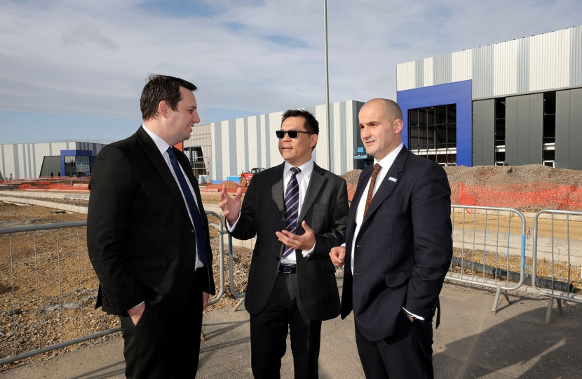 Tees Valley Mayor Ben Houchen with Prof Tat-Hean Gan and Northern Powerhouse minister Jake Berry