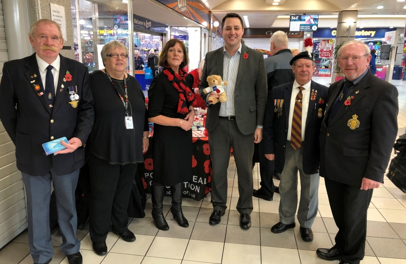 Tees Valley Mayor Ben Houchen with Carole Knowles, Northern Area Advice & Information Team Leader at the Royal British Legion (centre), alongside volunteers and supporters of the Royal British Legion's Poppy Appeal