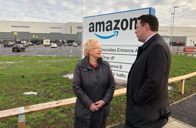 Tees Valley Mayor Ben Houchen and Darlington Borough Council leader Heather Scott outside Amazon's new Darlington fulfilment centre