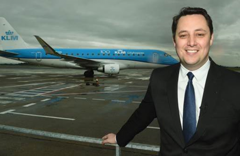 Tees Valley Mayor Ben Houchen with a KLM plane at Teesside International Airport