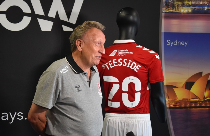 Neil Warnock at Teesside International Airport